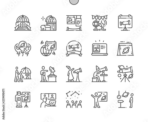 Astronomy Day Well-crafted Pixel Perfect Vector Thin Line Icons 30 2x Grid for Web Graphics and Apps Canvas Print