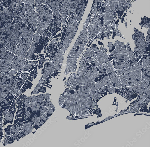 Cuadros en Lienzo map of the New York City, NY, USA