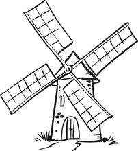 Windmill. Hand Drawn Vintage S...