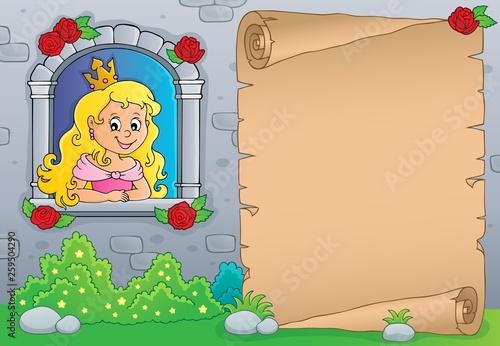 Princess in window theme parchment 1