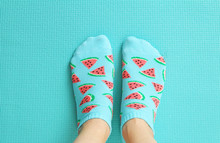 Female Feet In Colorful Socks ...
