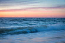 Sunset On The Baltic Seacoast. Curonian Spit