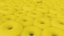 3D Abstract Yellow Torus Shapes Background. 4K Rendering Loop Animation.