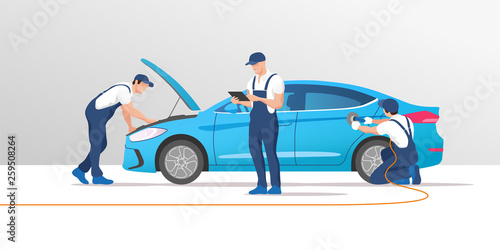 Fototapeta Auto service and repair. Car in maintenance workshop with mechanics team. Vector illustration. obraz