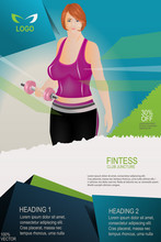 """Young Girl In Fitness Sportswear. A Professional And Modern """"Fitness Flyer/Gym Flyer"""" Perfect For Any Fitness & Gym, Beauty Center, Hair Salon / Stylist Or Fashion Consultancy Activity."""