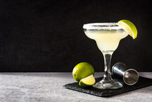Margarita Cocktails With Lime In Glass On Gray Background. Copyspace