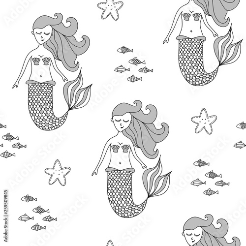 Photographie  Lovely sealife texture with mermaid - funny hand drawn doodle, seamless pattern