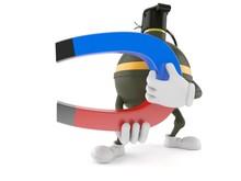 Hand Grenade Character Holding Horseshoe Magnet