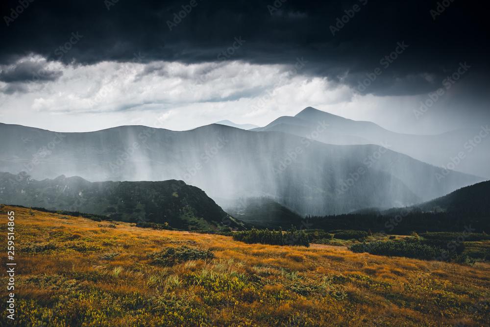 Fototapeta Heavy rainfall. Location Carpathian, Ukraine, Europe.