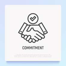 Commitment Thin Line Icon: Handshake With Tick. Modern Vector Illustration.