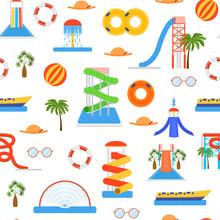 Cartoon Aquapark Playground Seamless Pattern Background. Vector