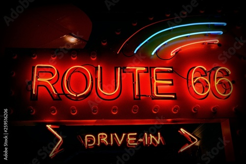 Old neon red sign of Route 66.