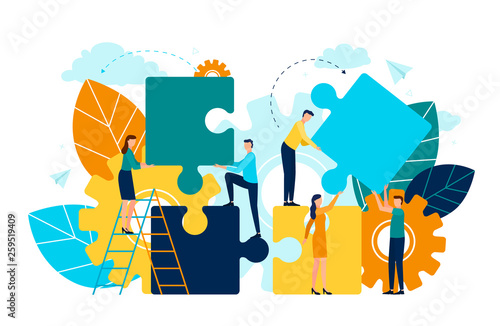 Fotografía  People with puzzle pieces vector, man and woman standing on ladder, foliage and flora