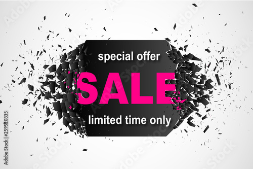 Fototapety, obrazy: Promo banner design template with explosion effect. Special offer sale limited time only abstract Background. Vector illustration.