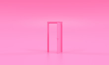 Pink Door Opened Stands Minimal Idea Space Room And Creative Background - 3d Rendering - Illustration