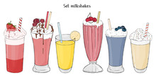 Set Of Refreshing Summer Drinks. Milkshakes Of Fruits And Berries.
