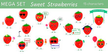 Mega Set Of Fifteen Cute Kawaii Sweet Strawberry Characters In Various Poses And Accessories In Cartoon Style. Logo, Template, Design. Vector Illustration, Flat Design