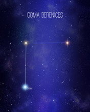 Coma Berenices Berenice Hair Constellation On A Starry Space Background. Stars Relative Sizes And Color Shades Based On Their Spectral Type.