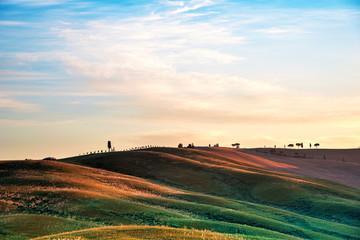 Sceniczny krajobraz z wzgórzami przeciw chmurom w Tuscany, Włochy. Niesamowite miejsca.