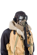 WWII Military Pilot Suit Isolated On White Background