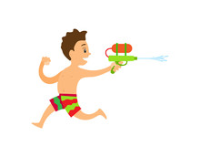 Teenager Running With Squirt Gun, Boy Wearing Colorful Shorts, Child Playing Water Game, Summer Activity, Smiling Young Person Full Length View Vector