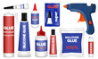 Glue icons set. Realistic set of glue vector icons for web design isolated on white background
