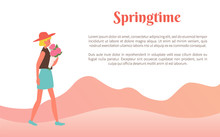 Female Going With Bouquet Of Flowers In Springtime, Walking Woman Holding Flavor. Side View Of Person Wearing Skirt, T-shirt And Hat, Papercard Vector