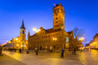 Beautiful architecture of the old town in Torun at dusk, Poland.