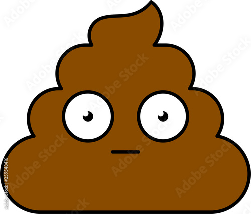 Obraz na plátne Shocked, surprised shit emoji illustration