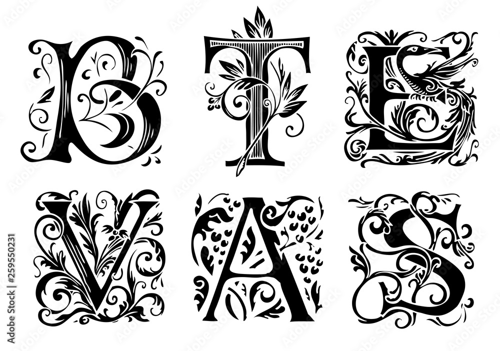 Fototapety, obrazy: Vector set of six decorative hand drawn initial letters. English letters in vintage style. Fancy letters with curls. Black and white illustration.