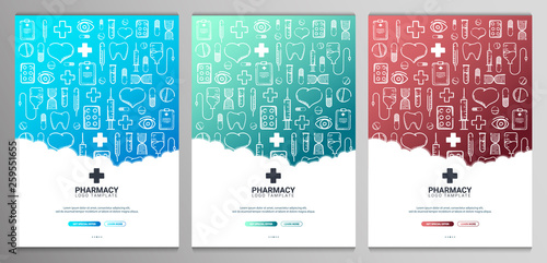 Carta da parati  Set of Pharmacy and Medical banners with doodle background