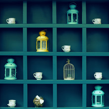 Beautiful Colorful Installation In Cafe Made Of Lanterns, Cups, Bird-cage And Jar.