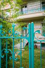 Closeup Of Vintage Metal Fence House