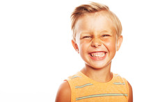 Mom's Joy Concept. Portrait Of Smiling Cute Little Boy In Orange Sleeveless T-shirt Isolated On White Background. Retro Postcard, Vintage Poster Style. Close Up. Copy-space. Studio Shot