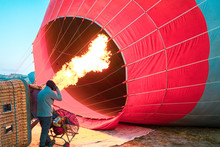 Hot Air Balloon With Flame And...