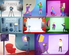 Photographer Equipment Banner Set. Cartoon Illustration Of Photographer Equipment Vector Banner Set For Web Design