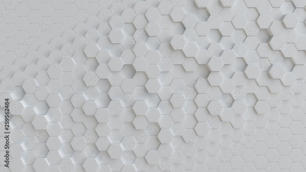 Fototapety, obrazy: Hexagonal white background texture. 3d illustration, 3d rendering