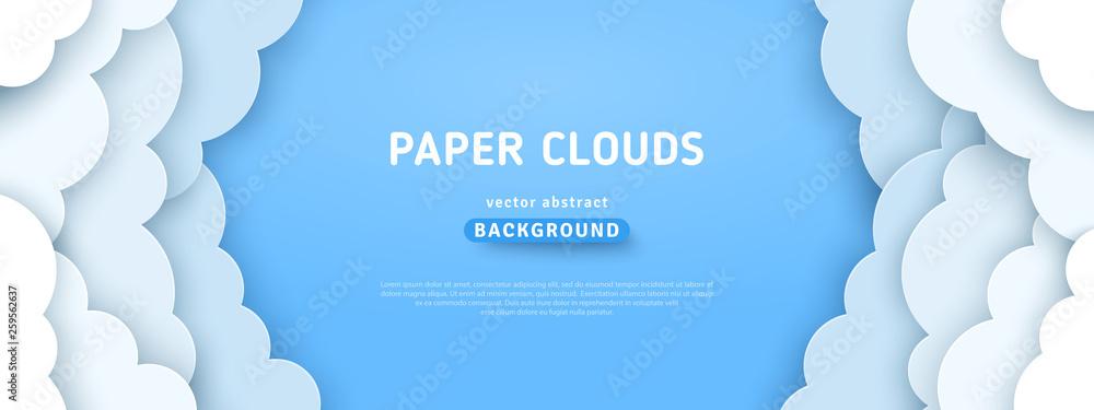 Fototapety, obrazy: Clouds on blue sky border