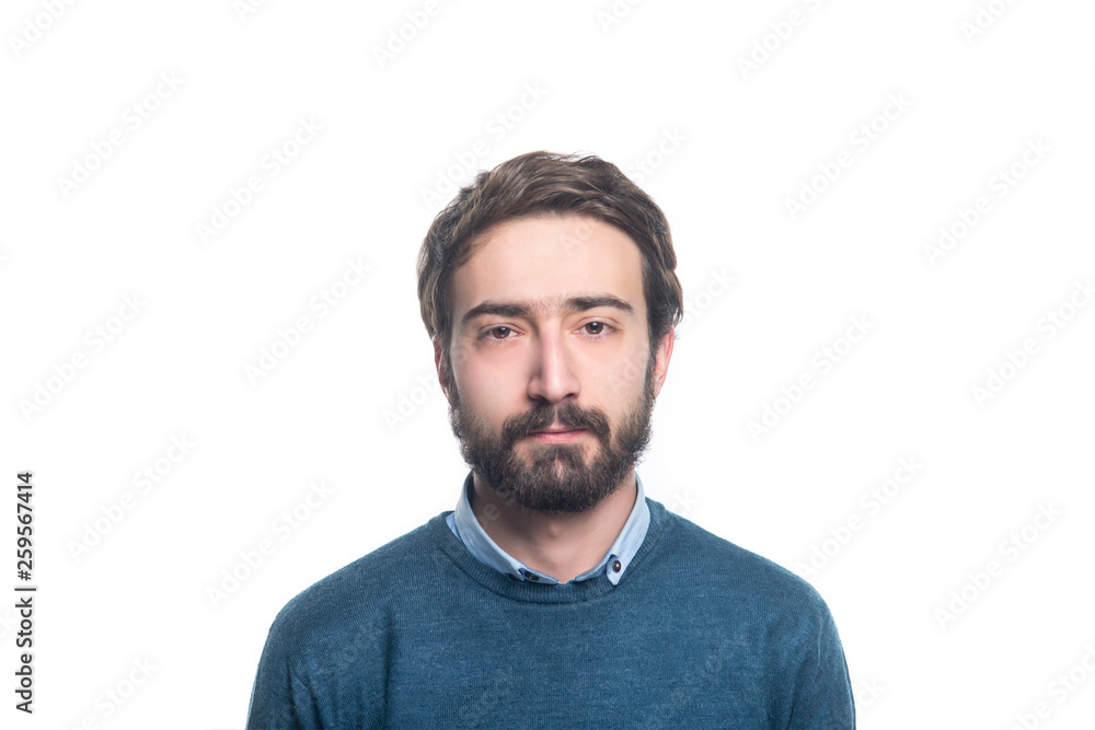 Fototapeta portret of young handsome man with a beard on a white background