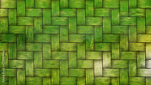 Obraz Green Woven Bamboo Texture Background - fototapety do salonu