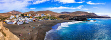 Fuerteventura - Picturesque Traditional Fishing Village Ajui, With Black Beach. Canary Islands