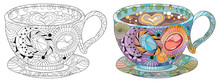 Vector Coffee Or Tea Cup With Abstract Ornaments.