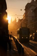 Sunset In Lviv. Doroshenko Street. Historical City Center