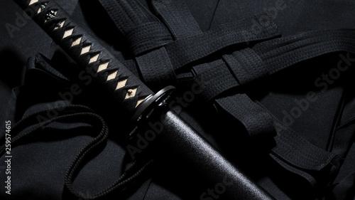 Japanese katana samurai sword. Aikido hakama, martial arts uniform