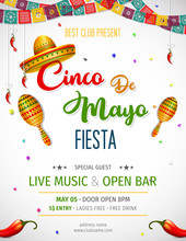 Cinco De Mayo Invitation Design For Celebration Of The Mexican Holiday.