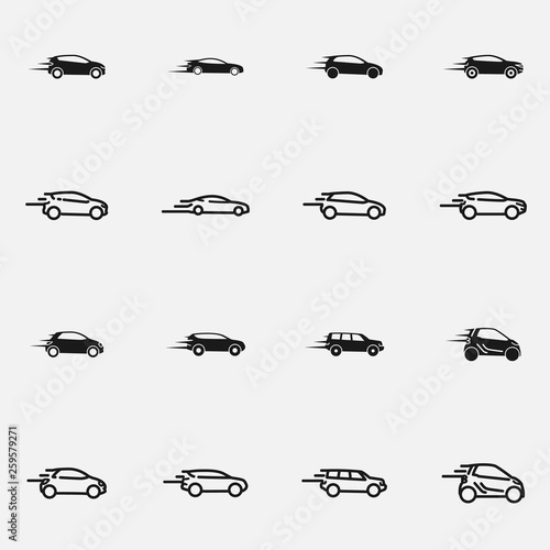 Set of speeding car black and white vector icon.