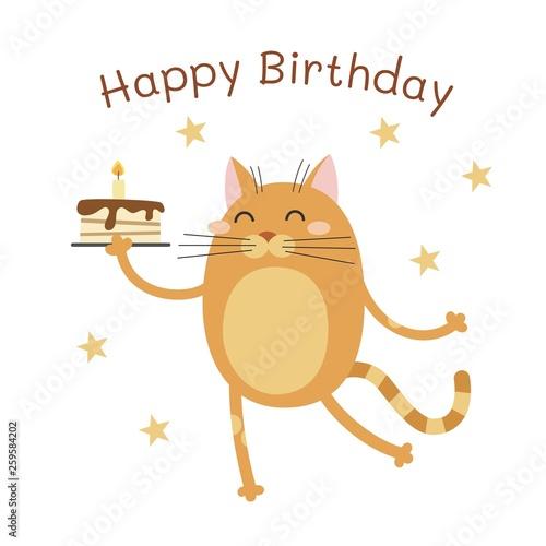 Photo  Happy Birthday. Cartoon cat with cake. Vector illustration.