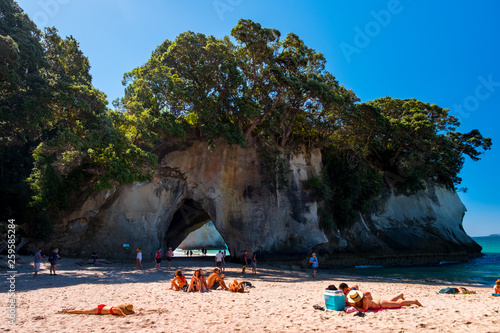 Photo 2019 FEB 19, New Zealand, Coromandel -  Chathdral cove the travelling destination in a beautiful day