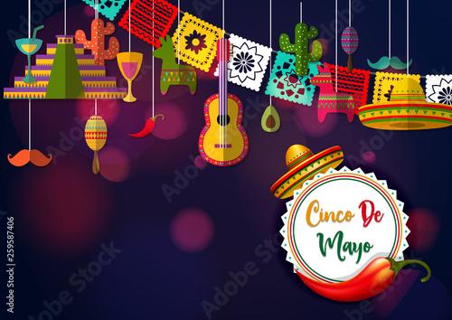 Cinco De Mayo vector design with sombrero. Poster Mural XXL