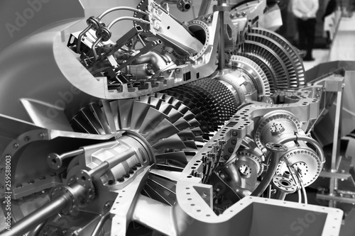 engine of an airplane in section black and white Canvas Print